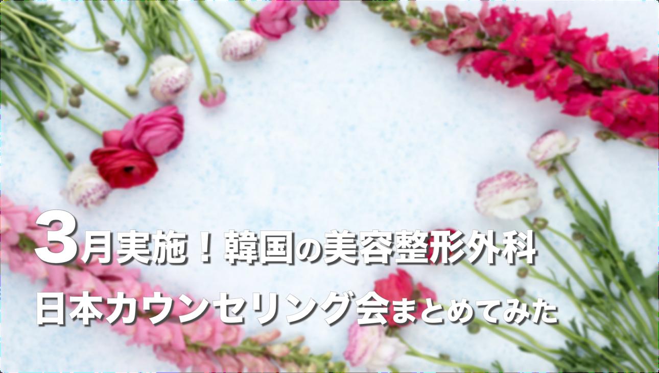 【2019年3月】韓国の美容整形外科が実施する日本カウンセリング会まとめ