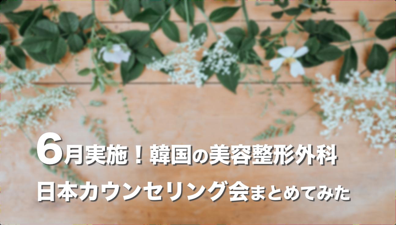 【2019年6月】韓国の美容整形外科が実施する日本カウンセリング会まとめ