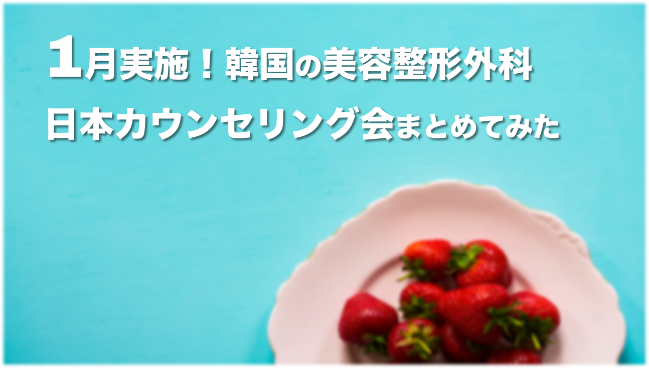 【2020年1月】韓国の美容整形外科が実施する日本カウンセリング会まとめ🇰🇷